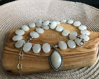 Chic Sterling Silver Quartz Necklace