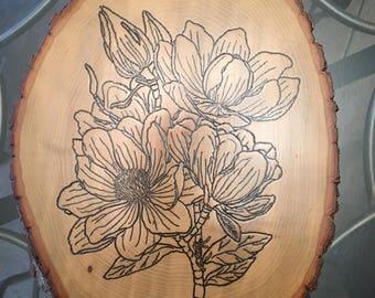 Wood-Burned magnolia floral plaque
