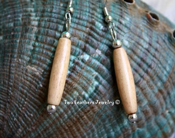 Antiqued Bone Earrings - Bone Hairpipe Earrings - Native American Inspired - Tribal Earrings - Gift For Her - Natural Jewelry