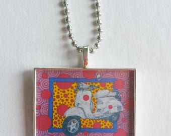 Scooter Charm, Resin Pendant, Moped Jewelry, Vespa Necklace, Pink Purple Yellow, Gift For Her, Scooter Girl, Geometric Print, Colorful Fun