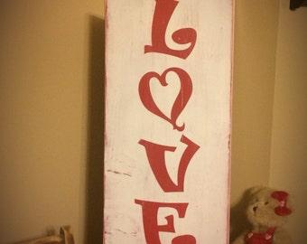 Love sign. Valentine's day decoration. Valentine's Day Sign. Rustic signs Wedding decorations. distressed sign Valentines decor. Heart sign.