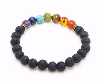 Black Lava Rock 8mm Beads 7 Chakra Healing Balance Reiki Prayer Stone Yoga Chakra Bracelet