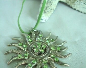 Sun Pendant Necklace - Metal with Green Rhinestones / Crystals - Green Suede Cord - Vintage - Early 90's Jewelry -  Summer Necklace