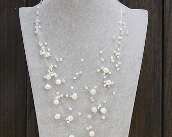Pearl Statement necklace,multistrand pearl necklace,layer necklace,pearl floating necklace,bridal jewelry necklace,bridesmaid necklace gifts