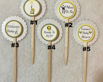 Set Of 12 Personalized Zoo Animals Baby Shower  Cupcake Toppers (Your Choice Of Any 12)