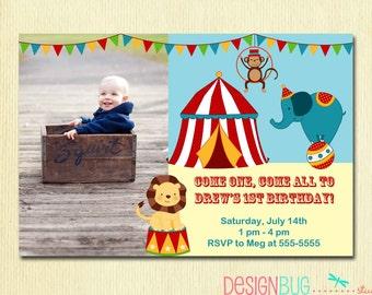 Boys pirate birthday invitation pirate ship ahoy mateys circus carnival birthday invitation circus birthday first birthday 1 year old boy stopboris Choice Image
