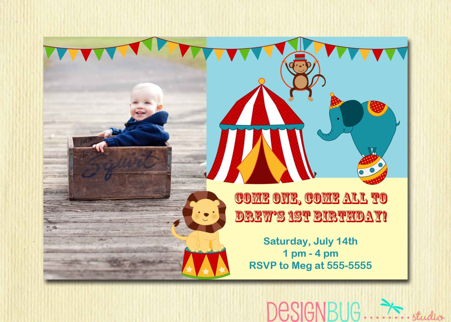 Circus Carnival Birthday Invitation Circus Birthday First