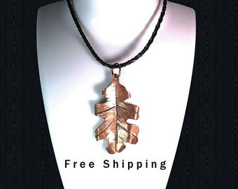 Hammered Copper Oak Leaf, Copper necklace, Copper leaf pendant, copper leaf metalwork, Oak leaf pendant, Oak Leaf Necklace, Hammered copper