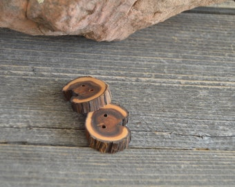 2 Unique Juniper Wooden buttons- handmade buttons (2036)