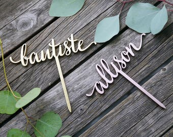 Custom First Name Cake Topper | Laser Cut Wood Birthday Cake Topper | Modern Calligraphy Cake Decoration | Personalized Custom Party Decor
