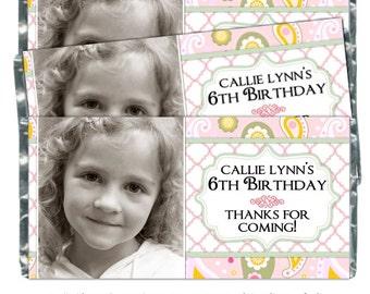 Emballages de bonbons anniversaire - fit plus 1,55 oz chocolat bars, friandises Photo Wrappers, Pink Paisley anniversaire Wrappers, anniversaire Photo