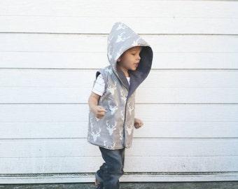 Hooded Vest - Lottie and Lysh - Kids Hoodie - Baby Jacket - Grey Gilet - Reversible Vest - Sleeveless Hoodie - Deer Jacket - Stag Jacket
