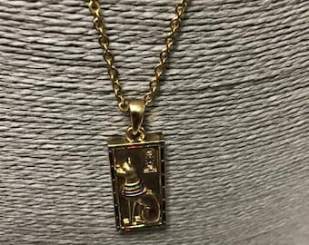 """Egyptian Gold Plated Brass Goddess Bastal """"CAT"""" Necklace Made in Egypt"""