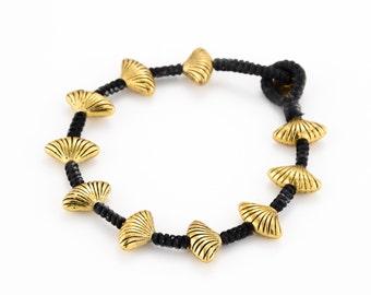 Sea Shells Brass Bracelet. braided bracelet. nautical jewelry. boho bracelet. bohemain jewelry. tribal bracelet. beaded bracelet.