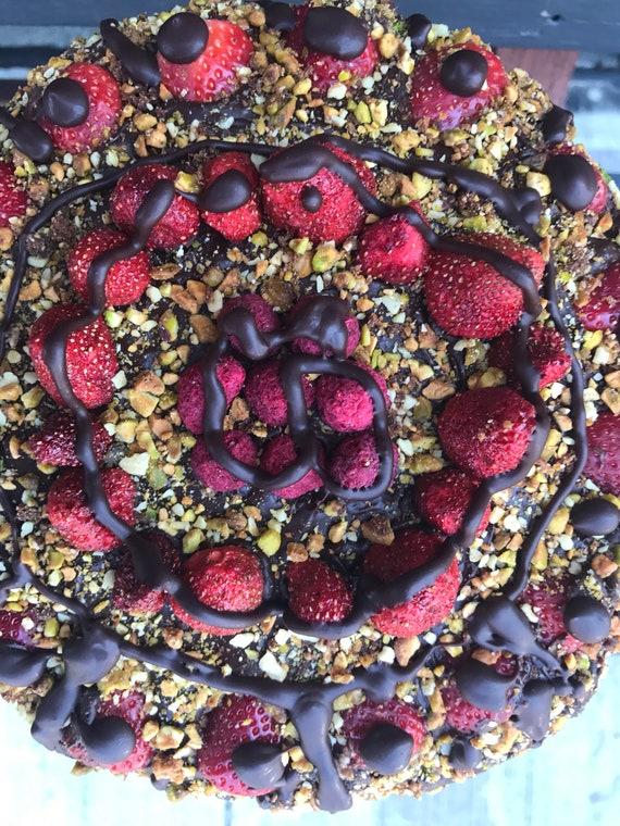 Vegan Chocolate Pistachio Strawberry Cake, love, animal free cruelty,no eggs,no dairy.