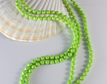 1960s Long Small Round Smooth Popper Beads Light Green Beaded Plastic Bead Necklace