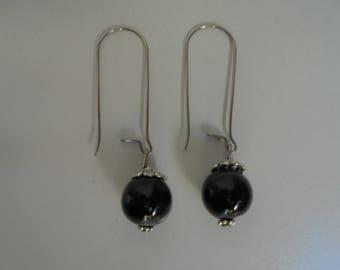 Earrings gemstones black Agate natural