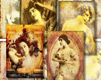 Steampunk Women ATC Digital Collage Sheet ACEO Backgrounds Vintage Victorian /Women Nude Actress Tags Cards Printable Download