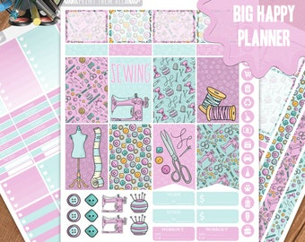 SEWING Planner Stickers Printable, Big Happy Planner Stickers, Weekly Planner Kit, Planner Stickers, Big MAMBI Planner Stickers, Big HP Kit