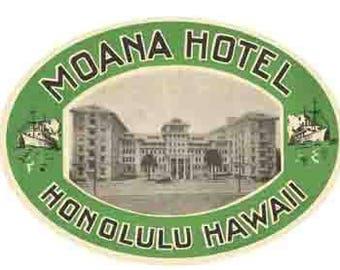 Vintage Style  Moana Hotel Honolulu HI Hawaii   Travel Decal sticker