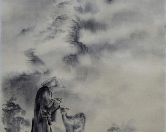 Japanese Buddhist Painting, Sumi-e Artwork, Buddhist Monk, Deer Painting, Compassion, Chinese Painting