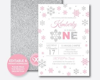 Instant Download, Editable Winter Onederland Birthday Invitation, Winter Wonderland Invitation, First Birthday, Pink and Silver (GKB.02B)
