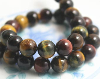 6mm 8mm 10mm 12mm 14mm 16mm 18mm 20mm Mixcolor Tigereye,Tigereye beads, Natural and Smooth Round Beads, 15 inch strands