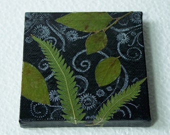 Nature Decor, Green Leaves on Black Painted Canvas Original, Real Leaves on Acrylic Paint, OOAK