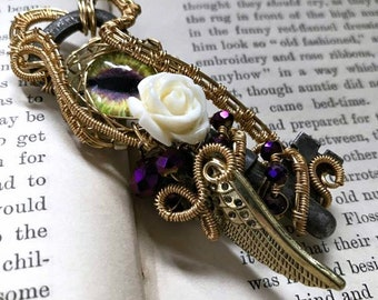 Dragon Necklace - Wire Wrapped Pendant - Gothic Jewelry - Steampunk Necklace - Gift For Her - Key Necklace - Skeleton Key - Purple Necklace