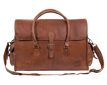 Leather Weekend Bag - Overnight Bag - *Personalised* in Vintage Brown by MAHI Leather