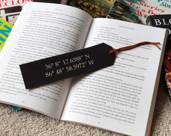 Personalized Bookmark, Faux Leather Bookmark, Leather Bookmark, Custom Bookmark, Gifts for teachers, Back to school --FXBM-B-coordinates