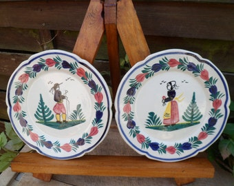Plate has breton bread HB Quimper, 5 plates, French-made, handpainted, numbered signed plate