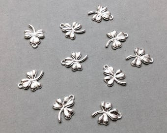 Clover Charm, Silver Clover, St. Patrick's Day Charm, Lucky Charms, Good Luck, Luck of the Irish, 19mm, SP114