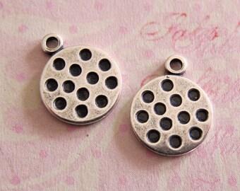 NEW 2 Silver Polka Dot Disk Charms 3484