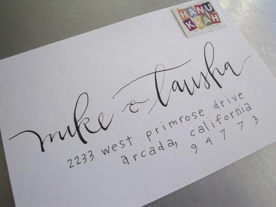 Handwritten Wedding Invitation Envelopes: Calligraphy Envelope Addressing Custom Handwritten Lettering