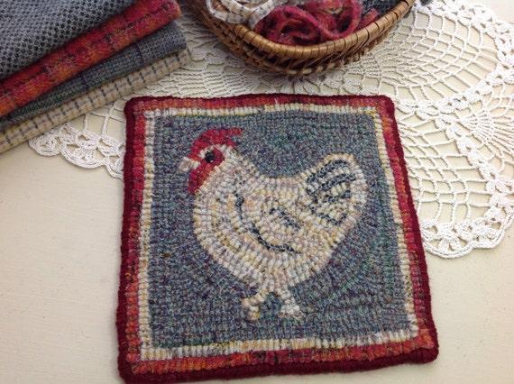 """Rug Hooking KIT, """"Chicken Mat"""", 8"""" x 8"""", K101, DIY rug hook kit, folk art chicken"""