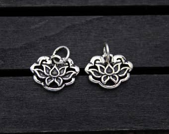 1PC sterling silver lotus charm, sterling silver lotus pendant,Sterling Silver lotus flower,yoga jewelry