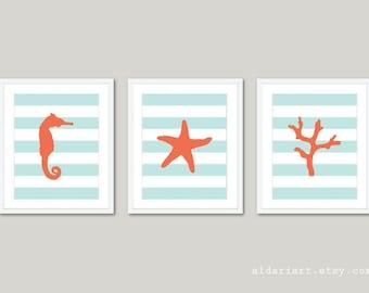 Nautical Prints Seahorse Starfish Coral Wall Art - Stripes - Coral Blue - Beach House Decor - Modern Prints