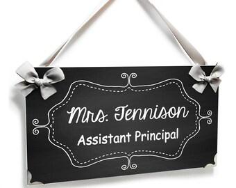 custom Assistant Principal office door sign - chalkboard inspired design plaque - P293