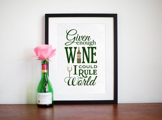 Wein-Angebot Wein Poster Küche Zitat Küche Kunst