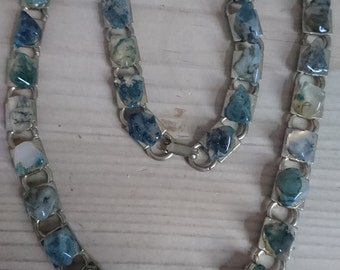 Vintage moss agate necklace