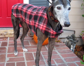 Greyhound Dog Coat, XL Dog Jacket, Cranberry Red, Pink, White, Gray, and Black Plaid Fleece with Black Fleece Lining