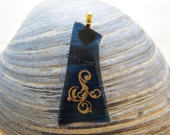 0009 - Blue w Golden Swirl Fused Glass Pendant