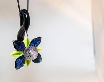 Glass Flower Sculptural Pendant with Dichroic Galaxy and Petals