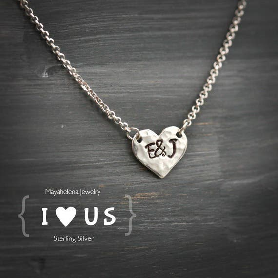 I Heart Us - Monogram Tag Charm  Sterling Silver Mecklace
