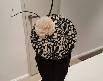 Beige and black lace 3D percher hat / headpiece / fascinator / hat, ideal for races, Fashions on the Field