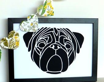 Pug Papercut, Pug Dog paper cut, Unframed, Original hand cut Pug art, Minimalist art