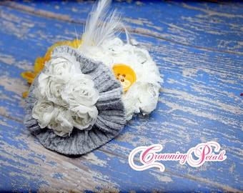 Mustard Yellow, Gray, White Headband, Fabric Flower Brooch, Infant, Baby, Toddler Hair Accessory, Hair Bow, Grey Hair Clip, Hair Piece