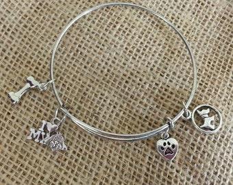 Dog themed bangle bracelet