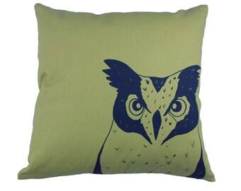 Mustard, owl print cushion cover 40x40cm